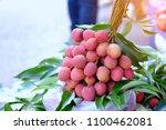 fresh lychee in basket for sell ...   Shutterstock . vector #1100462081