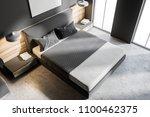 top view of a gray bedroom... | Shutterstock . vector #1100462375