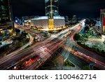 night scene of light trails... | Shutterstock . vector #1100462714