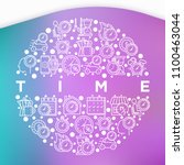 time concept in circle with... | Shutterstock .eps vector #1100463044