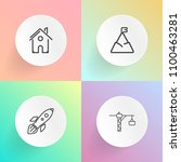 modern  simple vector icon set... | Shutterstock .eps vector #1100463281