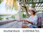 technology and travel. working... | Shutterstock . vector #1100466761