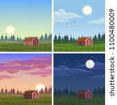 different times of the day.... | Shutterstock .eps vector #1100480009