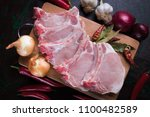 Small photo of Raw pork loin chops, pork meat cutlet ready for grilling
