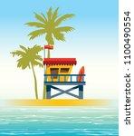 Lifeguard Station On A Beach...