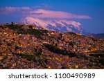 city of la paz and mountain of... | Shutterstock . vector #1100490989