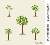 set of abstract tree. vector... | Shutterstock .eps vector #1100495354