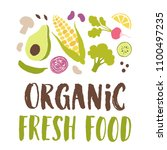 organic fresh food vector... | Shutterstock .eps vector #1100497235