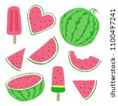 watermellon and ice cream...   Shutterstock .eps vector #1100497241