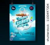 vector summer beach party flyer ...   Shutterstock .eps vector #1100497304