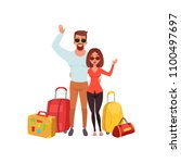 young couple with travel bags... | Shutterstock .eps vector #1100497697