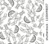 seamless  pattern with crayfish ... | Shutterstock .eps vector #1100498057