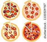 pizza  whole pizza and a slice... | Shutterstock .eps vector #1100509787