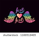 heart with rainbow wings | Shutterstock .eps vector #1100513405