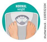 normal weight human feet on... | Shutterstock .eps vector #1100532104