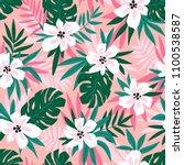 hawaiian seamless pattern with... | Shutterstock .eps vector #1100538587