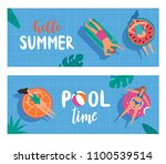 horizontal banners with young... | Shutterstock .eps vector #1100539514