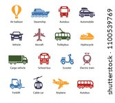 traveling and transport icons... | Shutterstock .eps vector #1100539769