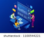 isometric business analysis and ... | Shutterstock . vector #1100544221