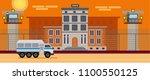 prison building in the desert....   Shutterstock .eps vector #1100550125