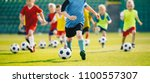 football soccer training for... | Shutterstock . vector #1100557307