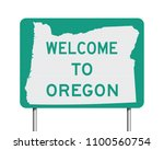 welcome to oregon road sign | Shutterstock .eps vector #1100560754