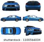 set 3d model blue lexus gs on... | Shutterstock . vector #1100566034