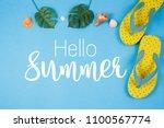 Hello Summer Text On Blue...