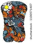 line thai tattoo design... | Shutterstock .eps vector #1100571407