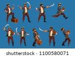 detailed pirate set | Shutterstock .eps vector #1100580071