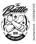 hip hop monochrome emblem with...   Shutterstock .eps vector #1100582105