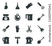 black vector icon set scissors... | Shutterstock .eps vector #1100595041