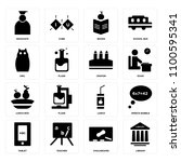 set of 16 icons such as library ...