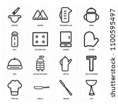 set of 16 icons such as cup ... | Shutterstock .eps vector #1100595497