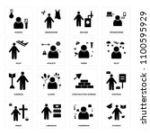 set of 16 icons such as student ...