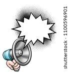 a megaphone or bullhorn and... | Shutterstock .eps vector #1100596901