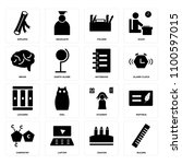 set of 16 icons such as rulers  ...