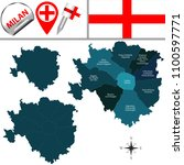 vector map of milan with named... | Shutterstock .eps vector #1100597771