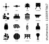 set of 16 icons such as trophy  ...