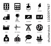 set of 16 icons such as lunch...