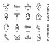 set of 16 icons such as tequila ...