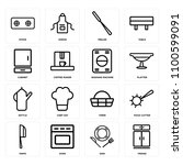 set of 16 icons such as fridge  ...