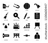 set of 16 icons such as teacher ...