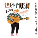 romantic singer with guitar and ... | Shutterstock .eps vector #1100604917