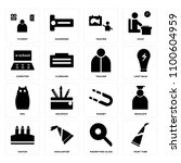set of 16 icons such as paint...