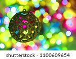 color christmas lights with... | Shutterstock . vector #1100609654