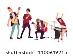 punk rock band performing on... | Shutterstock .eps vector #1100619215