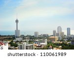 Skyline  of Pattaya from the view point. aerial view - stock photo