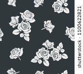 Stock vector white roses on black background seamless pattern vector illustartion 1100622821