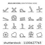 gravitational signs  bold line... | Shutterstock .eps vector #1100627765